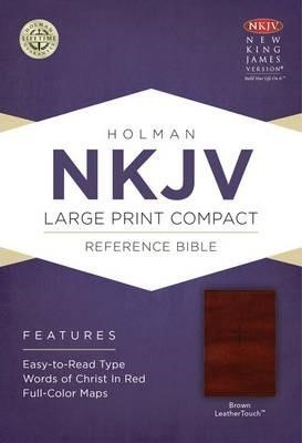 NKJV Large Print Compact Reference Bible Brown LT (Imitation Leather)