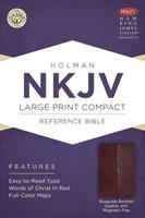 NKJV Large Print Compact Reference Bible Burg Bnd Flap (Bonded Leather)