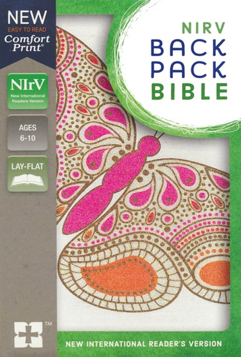 NIRV BACKPACK BIBLE PINK BUTTERFLY FLEX
